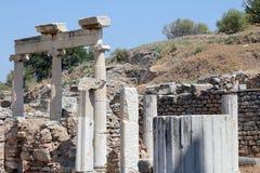Roman Ruins in Ephesus - Turkey. Roman ancient ruins in Ephesus - Turkey: columns, capitals Royalty Free Stock Photo