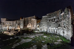 Roman ruins of Foro di Augusto in Rome. Roman ruins of Foro di Augusto in italy's capital city of Rome at night Royalty Free Stock Image