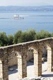 Roman ruins on Garda Lake in Sirmione, Italy Stock Photos