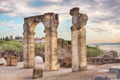 Roman ruins Grotte di Catullo or Grotto at Sirmione, Lake Garda, Northern Italy. Roman ruins Grotte di Catullo or Grotto at Sirmione, Lake Garda, Northern Italy Royalty Free Stock Photos
