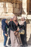 Roman ruins. Of Jerash in Jordan on a sunny day You can see some arabic women. It´s a editorial picture in vertical stock images