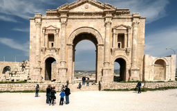 Roman ruins. Of Jerash in Jordan on a sunny day.You can see some tourist. It´s aeditorial picture stock photo