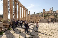 Roman ruins. Of Jerash in Jordan on a sunny day .You can see some tourist. It´s a editorial picture royalty free stock photos