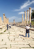 Roman ruins. Of Jerash in Jordan on a sunny day You can see some tourist. It´s a editorial picture Stock Image