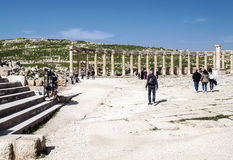 Roman ruins. Of Jerash in Jordan on a sunny day .You can see some tourist. It´s a editorial picture Royalty Free Stock Images