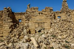 Roman Ruins in Jordan, Castle Bashir Roman Fortress. Castle Bashir, Roman Fortress in the Jordan Desert. Jordan Tourist Locations royalty free stock images