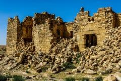 Roman Ruins in Jordan, Castle Bashir Roman Fortress. Castle Bashir, Roman Fortress in the Jordan Desert. Jordan Tourist Locations stock photo