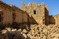 Roman Ruins in Jordan, Castle Bashir Roman Fortress. Castle Bashir, Roman Fortress in the Jordan Desert. Jordan Tourist Locations stock images