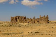 Roman Ruins in Jordan, Castle Bashir Roman Fortress. Castle Bashir, Roman Fortress in the Jordan Desert. Jordan Tourist Locations stock photography