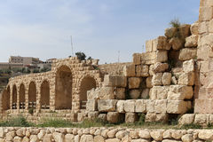 Roman ruins in the Jordanian city of Jerash (Gerasa of Antiquity), capital and largest city of Jerash Governorate, Jordan Royalty Free Stock Image