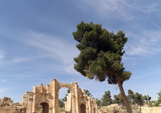 Roman ruins in the Jordanian city of Jerash (Gerasa of Antiquity), capital and largest city of Jerash Governorate, Jordan Royalty Free Stock Photo