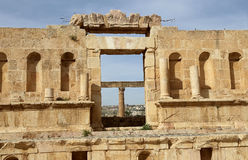 Roman ruins in the Jordanian city of Jerash (Gerasa of Antiquity), capital and largest city of Jerash Governorate, Jordan Stock Photography