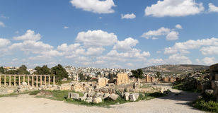 Roman ruins in the Jordanian city of Jerash (Gerasa of Antiquity), capital and largest city of Jerash Governorate, Jordan Royalty Free Stock Photography