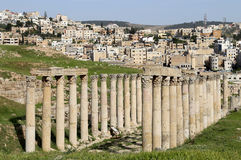 Roman ruins in the Jordanian city of Jerash (Gerasa of Antiquity), capital and largest city of Jerash Governorate, Jordan Stock Photo
