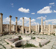 Roman ruins in the Jordanian city of Jerash (Gerasa of Antiquity), Jordan Stock Image