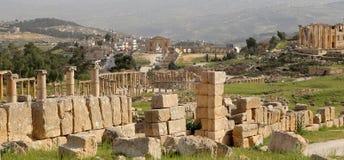 Roman ruins in the Jordanian city of Jerash (Gerasa of Antiquity), Jordan Stock Photo