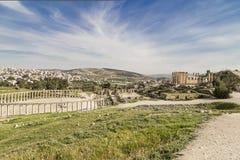 Roman ruins in the Jordanian city of Jerash (Gerasa of Antiquity), Jordan Stock Image