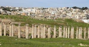 Roman ruins in the Jordanian city of Jerash, Jordan Royalty Free Stock Photo