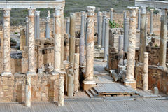 Roman Ruins at Leptis Magna. Roman ruins and marble columns at the ancient city of Leptis Magna, Libya, on the Mediterranean coast stock photos