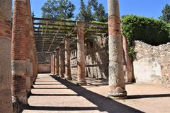 Roman ruins of Mérida Spain - ancient treasures. Mérida is the capital of the autonomous community of Extremadura, western central Spain. The population is 60 Royalty Free Stock Photo