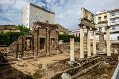 Roman ruins in Mérida, Spain. Roman ruins Forum in Mérida, Spain Royalty Free Stock Photography