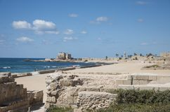 Roman ruins on Mediterranean Sea at Jaffa Royalty Free Stock Image