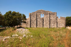 Roman ruins from Mirine basilica back side in Krk Croatia Royalty Free Stock Image