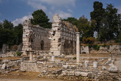 Roman ruins in Nice, France. Ruins of Roman baths in the ancient city of Cemenelum Royalty Free Stock Photos
