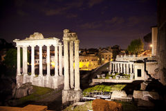 Roman ruins at night Stock Images