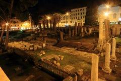 Roman ruins at night Stock Image