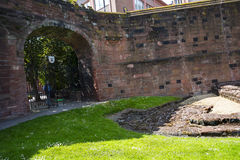 Roman Ruins by the original Roman Walls that encircle the City of Chester in England Stock Photos