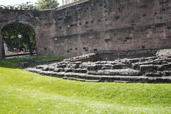 Roman Ruins by the original Roman Walls that encircle the City of Chester in England Stock Images
