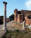 Roman ruins, Ostia Antica, Rome. Royalty Free Stock Images