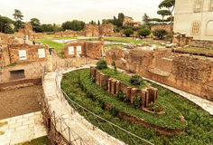 Roman ruins on the Palatine Hill in Rome Stock Image