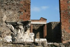 Roman Ruins - Pompeii - Italy. Roman ruins located in the ancient city of Pompeii,  buried by Vesuvius during its eruption of 79 B.C Stock Images