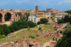 Roman ruins in Rome. Panorama view of Roman ruins in Rome Stock Images