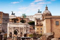 Roman ruins in Rome. Stock Photo