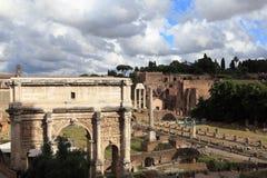 Roman ruins in Rome. Fori Imperiali royalty free stock photo