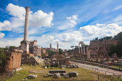 Roman ruins in Rome, Forum Stock Photos