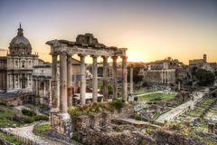 Roman ruins in Rome, the Imperial forum. Royalty Free Stock Image