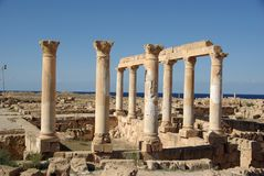Roman ruins of Sabratha, Libya. A temple in the Roman ruins of Sabratha, in Libya Stock Photo