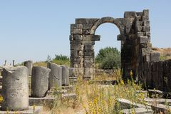 Roman Ruins. Some of the best preserved Roman Ruins of North Africa are located at Volubilis, Morocco Royalty Free Stock Image