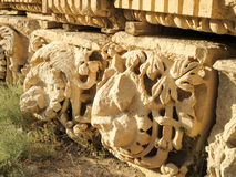 Roman Ruins. Some carvings from the ruins of Jerash, Jordan royalty free stock photo
