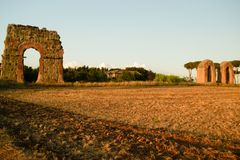 Roman ruins during the sunset Stock Photos