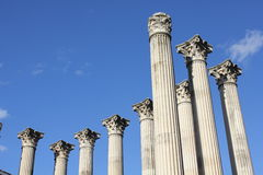 Roman ruins of a temple. Columns from the ruins of an ancient Roman temple in Córdoba (Spain Stock Photo