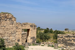 Roman ruins at Umm Qais (Umm Qays) --is a town in northern Jordan near the site of the ancient town of Gadara. Royalty Free Stock Photos