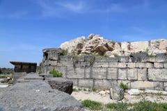 Roman ruins at Umm Qais (Umm Qays) --is a town in northern Jordan near the site of the ancient town of Gadara. Stock Photos