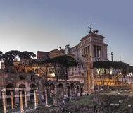 Roman ruins and vittoriano altar of fatherland Stock Photography