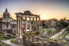 Roman ruïnes in Rome, het Keizerforum. Royalty-vrije Stock Afbeelding