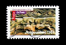 Roman\'s Art - Angouleme, Antic Art serie, circa 2010. MOSCOW, RUSSIA - MARCH 18, 2018: A stamp printed in France shows Roman\'s Art - Angouleme, Antic Art serie Royalty Free Stock Photo